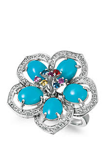 1/3 ct. t.w. White Sapphire™, 4.9 ct. t.w. Robin's Egg Blue Turquoise® and 1/4 ct. t.w. Multicolored Sapphires Ring in 14k Vanilla Gold®