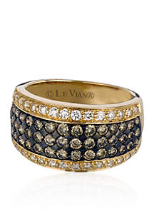 Chocolate Diamonds® and Vanilla Diamonds® Ring in 14k Honey Gold