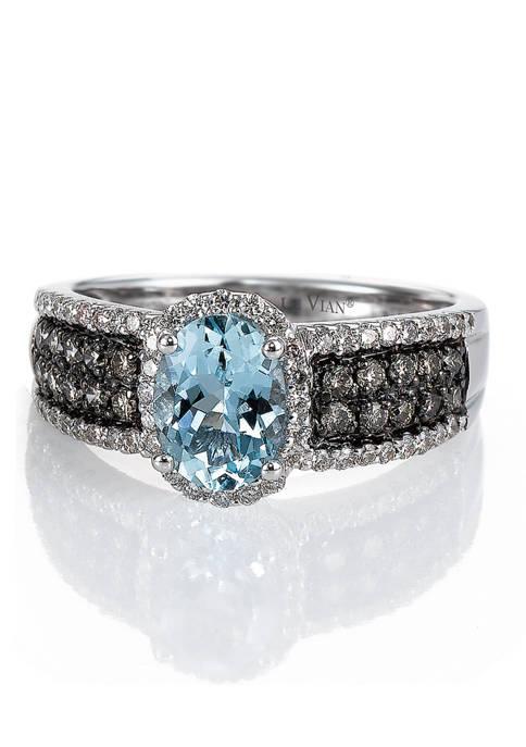 1/3 ct. t.w. Chocolate Diamond, 1/4 ct. t.w. Vanilla Diamond, and 1 ct. t.w. Aquamarine Ring in 14K White Gold