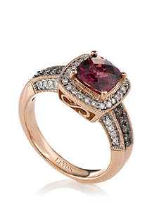 1/8 ct. t.w. Chocolate Diamonds®, 1/5 ct. t.w. Vanilla Diamonds™ and 1.75 ct. t.w. Raspberry Rhodolite® Ring in 14k Strawberry Gold®