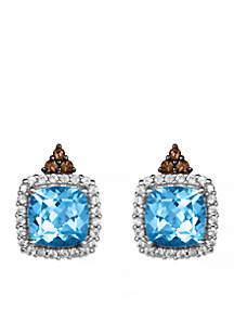 Le Vian Ocean Blue Topaz, Chocolate Quartz, and Vanilla Sapphire Earrings in 14k Vanilla Gold