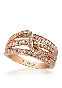 Le Vian Strawberry 'N Vanilla Gladiator Weave and Vanilla Diamond Ring set in 14K Strawberry Gold