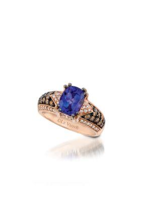 Women Le Vian Blueberry Tanzanite And Chocolate Vanilla Diamond Ring In 14K Strawberry Gold