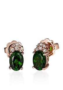 Pistachio Diopside® Stud Earrings in 14k Strawberry Gold®