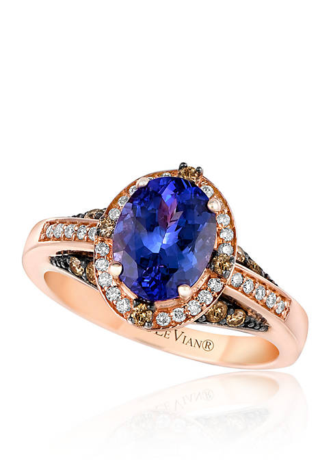Blueberry Tanzanite™ with Vanilla Diamonds®, and Chocolate Diamonds® Ring in 14k Strawberry Gold®