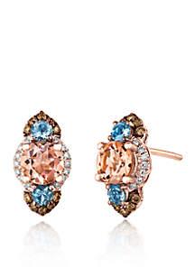 Peach Morganite with Ocean Blue Topaz, Vanilla Diamonds, and Chocolate Diamonds  Earrings in 14K Strawberry Gold