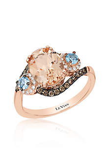 Peach Morganite™ with Sea Blue Aquamarine®, Vanilla Diamonds®, and Chocolate Diamonds® Ring in 14K Strawberry Gold®