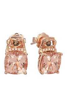 Peach Morganite and Chocolate & Vanilla Diamonds Earrings in 14k Strawberry Gold