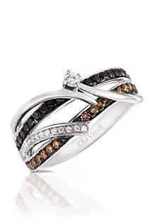 Le Vian Exotics Vanilla Diamonds, Black Diamonds, and Chocolate Diamonds Ring set in 14K Vanilla Gold