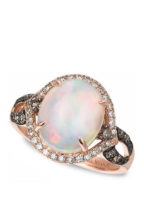 2 1/3 ct. t.w. Neopolitan Opal™, 1/4 ct. t.w. Vanilla Diamonds®, and 1/4 ct. t.w. Chocolate Diamonds® Ring in 14K Strawberry Gold®