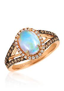 Neopolitan Opal™ with Vanilla Diamonds® and Chocolate Diamonds® Ring in 14k Strawberry Gold®