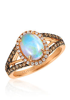 Le Vian® Neopolitan Opal™ with Vanilla Diamonds® and Chocolate Diamonds® Ring in 14k Strawberry Gold®