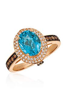 Ocean Blue Topaz™ with Vanilla Diamonds® and Chocolate Diamonds® in 14k Strawberry Gold®