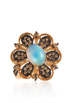 Le Vian® Neopolitan Opal™ with Vanilla Diamonds®, and Chocolate Diamonds® Ring in 14K Strawberry Gold®