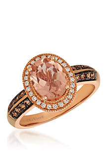 Le Vian® Peach Morganite™ Halo Ring in 14k Strawberry Gold®