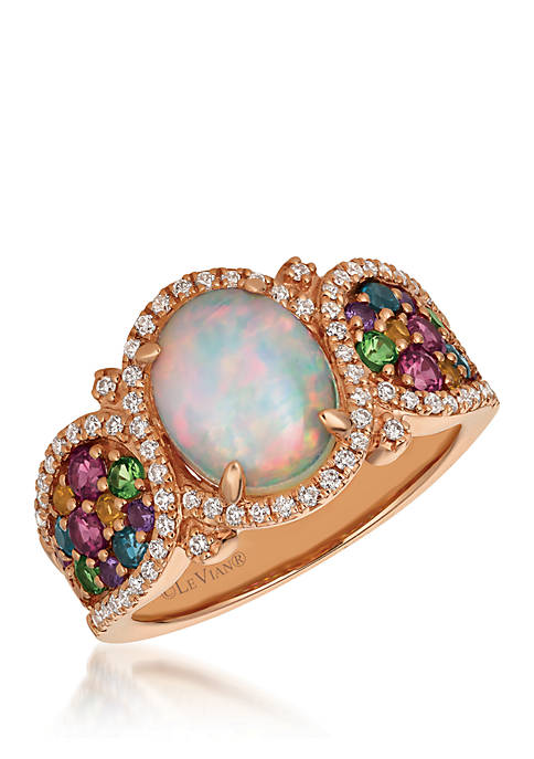 Mixberry Gems Neopolitan Opal Ring in 14k Strawberry Gold