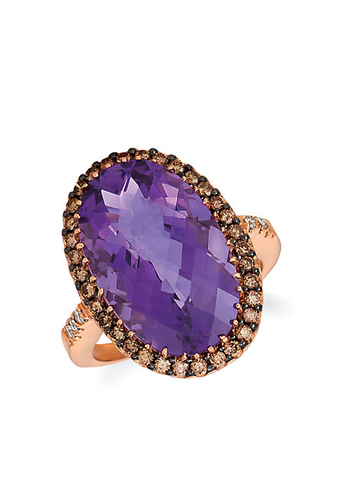 Creme Brulee® 5/8 ct. tw. Grape Amethyst™, 1/2 ct. tw. Chocolate Diamond® and 1/15 ct. tw. Nude Diamond™ ring in 14k Strawberry Gold®