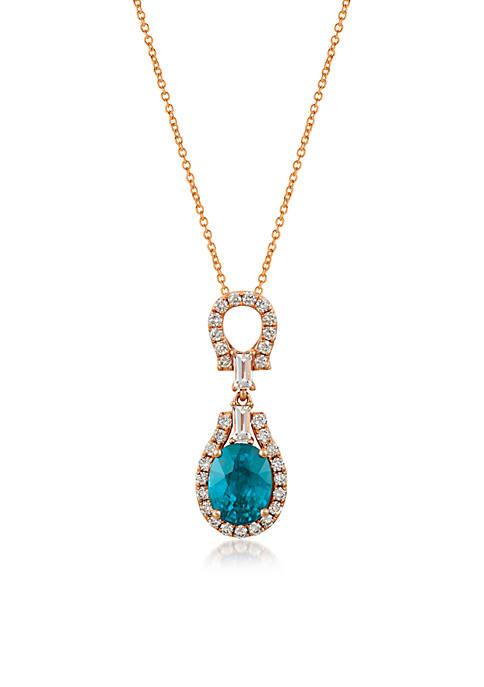 Creme Brulee® 7/8 ct. t.w. Blueberry Zircon™, 1/5 ct. t.w. Peach Morganite™, 3/8 ct. t.w. Nude Diamonds™ Pendant in 14K Strawberry Gold®