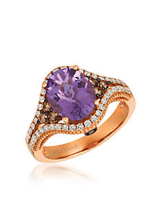 Creme Brulee® 7/8 ct. t.w. Grape Amethyst™, 1/5 ct. t.w. Chocolate Diamonds®, 1/6 ct. t.w. Nude Diamonds™ Ring in 14K Strawberry Gold®