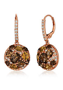 Creme Brulee® 1/2 ct. t.w. Chocolate Quartz®, 1/5 ct. t.w. Caramel Quartz™, 3/4 ct. t.w. Nude Diamonds™ and Chocolate Diamonds® Earrings in 14K Strawberry Gold®