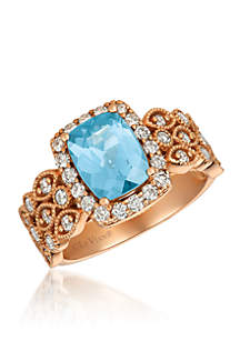 Creme Brulee® 1/2 ct. t.w. Sea Blue Aquamarine®, 5/8 ct. t.w. Nude Diamonds™ Ring in 14K Strawberry Gold®