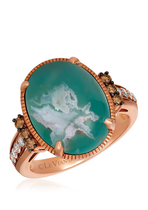 1/3 ct. t.w. Nude Diamonds™ and Chocolate Diamonds® 7.75 ct. t.w. Aquaprase Oval Ring in 14K Rose Gold