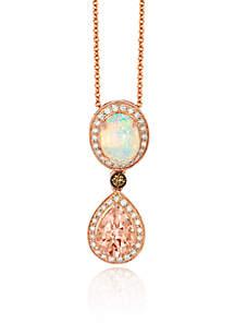 Peach Morganite™ with Neopolitan Opal™, and Multi Colored Diamonds Pendant in 14k Strawberry Gold®