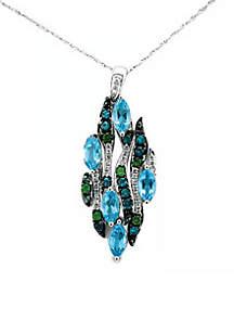 Ocean Wave, Deep Sea Blue Topaz, Ocean Blue Topaz, Pistachio Diopside, and Vanilla Diamonds Pendant in 14k Vanilla Gold