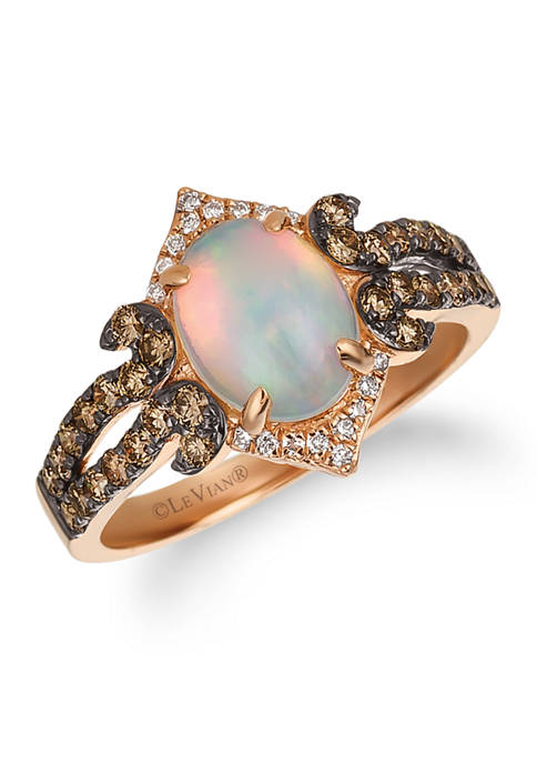 7/8 ct. t.w. Neopolitan Opal™, 5/8 ct. t.w. Chocolate Diamonds®, and 1/20 ct. t.w. Vanilla Diamonds® Ring set in 14K Strawberry Gold®