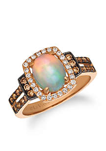 Neopolitan Opal and Chocolate & Vanilla Diamonds Ring in 14k Strawberry Gold
