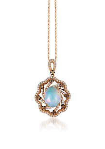 Neopolitan Opal and Chocolate & Vanilla Diamonds Pendant in 14k Strawberry Gold