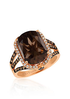 Le Vian® Chocolate Quartz® with Vanilla Diamonds® and Chocolate Diamonds® Ring set in 14K Strawberry Gold