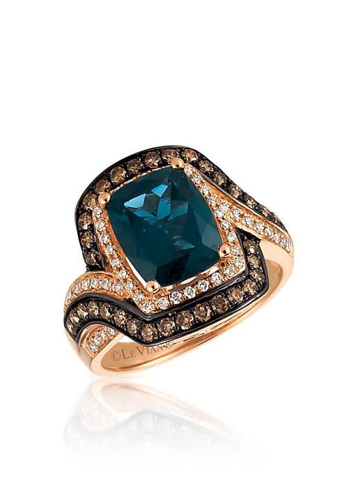 Deep Sea Blue Topaz™ with Vanilla Diamonds® and Chocolate Diamonds® Ring in 14K Strawberry Gold®