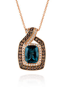 Deep Sea Blue Topaz™ with Vanilla Diamonds®, and Chocolate Diamonds® Pendant in 14k Strawberry Gold®