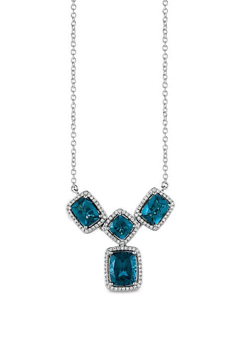 6.88 ct. t.w. Deep Sea Blue Topaz™ and 3/8 ct. t.w. Vanilla Diamonds® Necklace in 14k Vanilla Gold®