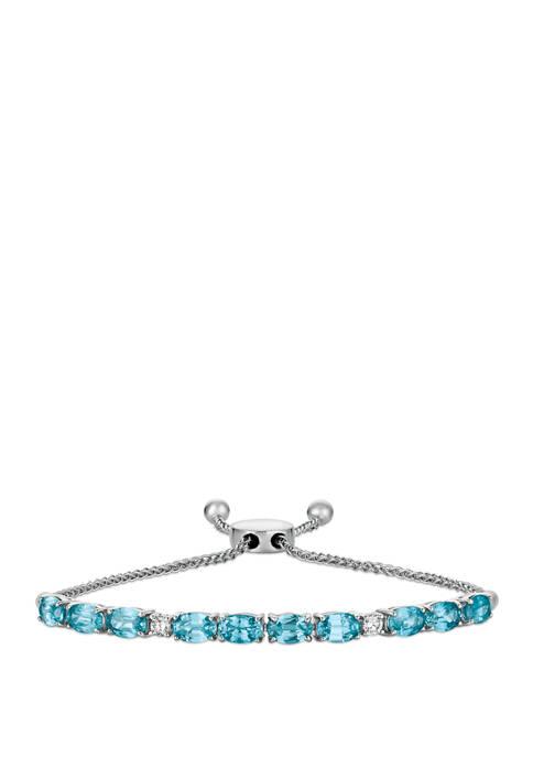1/6 ct. t.w. Diamond and Blue Zircon Bracelet in 14k White Gold