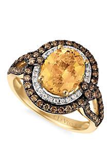 1.75 ct. t.w. Papaya Morganite™, 5/8 ct. t.w. Chocolate Diamonds® and 1/10 ct. t.w. Vanilla Diamonds™ Ring in 14k Honey Gold™