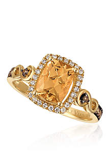 Chocolatier® Peach Morganite® Halo Ring in 14k Honey Gold