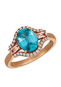 Blueberry Zircon, Peach Morganite, and Vanilla Diamonds Ring Set in 14k Strawberry Gold