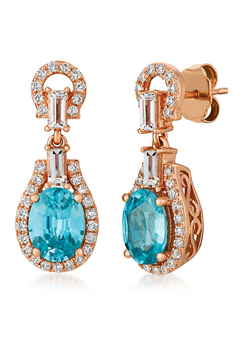 5/8 ct. t.w. Blueberry Zircon™, 1/3 ct. t.w. Peach Morganite™, 3/8 ct. t.w. Vanilla Diamonds® Earrings in 14K Strawberry Gold®