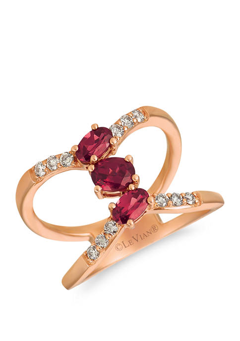 1/5 ct. t.w. Diamond and 7/8 ct. t.w. Rhodolite Ring in 14k Rose Gold