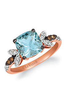 Creme Brulee® 3/4 ct. t.w. Sea Blue Aquamarine®, 1/6 ct. t.w. Nude Diamonds™, 1/20 ct. t.w. Chocolate Diamonds® Ring in 14K Strawberry Gold®