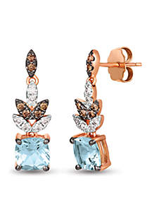 Creme Brulee® 1/2 ct. t.w. Sea Blue Aquamarine®, 1/6 ct. t.w. Chocolate Diamonds®, 1/6 ct. t.w. Nude Diamonds™ Earrings set in 14K Strawberry Gold®