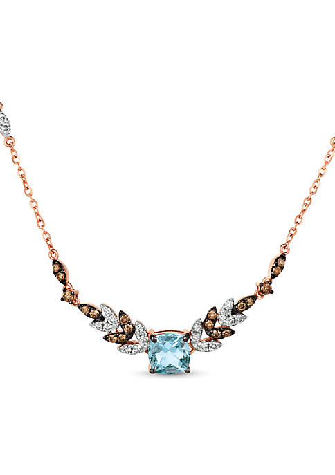 1/8 ct. t.w. Sea Blue Aquamarine®, 1/3 ct. t.w. Nude Diamonds™, and 1/4 ct. t.w. Chocolate Diamonds® Necklace in 14k Strawberry Gold®