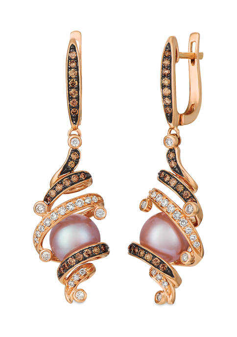 3/4 ct. t.w. Diamond and 8-9 Millimeter Pearl Earrings in 14K Rose Gold