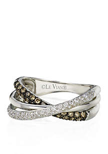 Chocolatier® Vanilla Diamonds® and Chocolate Diamonds® Gladiator® Ring in 14k Vanilla Gold®