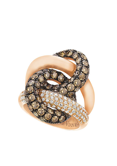 Red Carpet® Ring with Chocolate Diamonds® and Vanilla Diamonds® in 14K Strawberry Gold