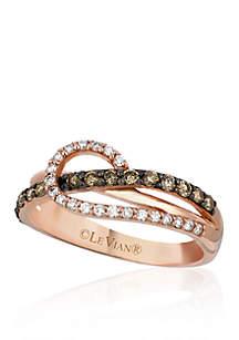 Chocolatier® Vanilla Diamonds® and Chocolate Diamonds® Ring in 14k Strawberry Gold®