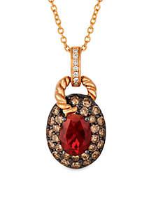 Le Vian Neon Tangerine Fire Opal and Chocolate & Vanilla Diamonds Pendant in 14k Strawberry Gold