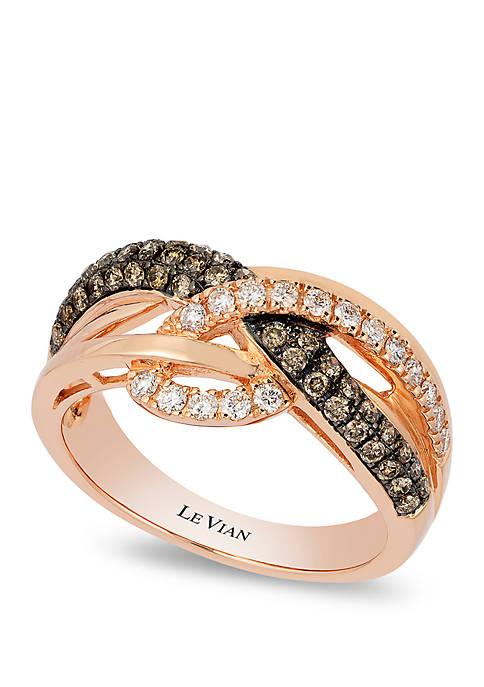 3/8 ct. t.w. Chocolate Diamonds® and 1/5 ct. t.w. Vanilla Diamonds® Ring in 14k Strawberry Gold®